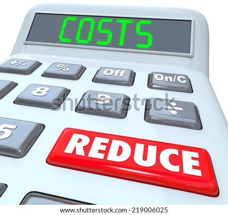 Reduce Costs words on a 3d plastic calculator to illustrate managing a budget and cutting expenses to improve your finances - stock photo