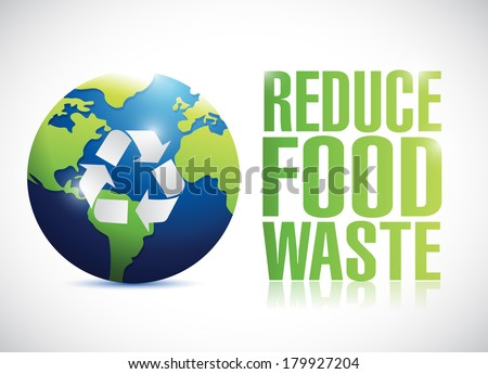 reduce food waste sign illustration design over a white background