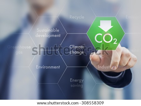 Reduce greenhouse gas emission for climate change and sustainable development - stock photo
