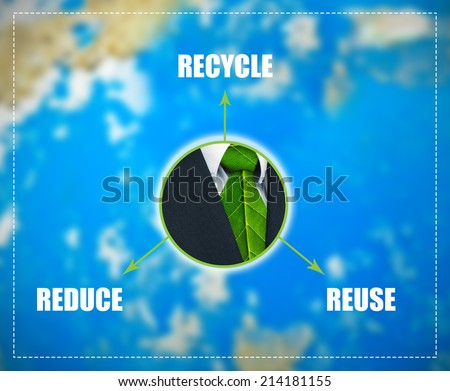 Reduce-Reuse-Recycle scheme with green business symbol in the middle - stock photo