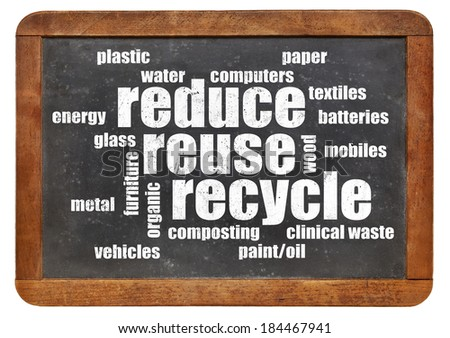 reduce, reuse, recycle word cloud on a vintage blackboard - stock photo