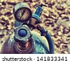 Reducer with pressure gauge on the oxygen cylinder. - stock photo