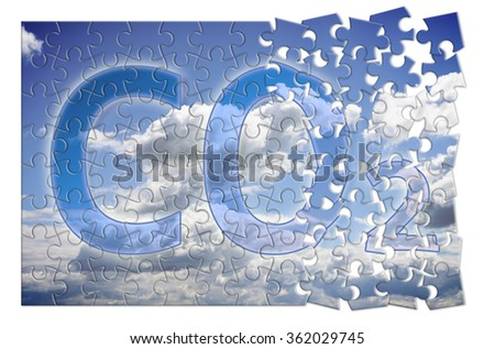 Reduction of CO2 presence in the atmosphere - puzzle concept image - stock photo