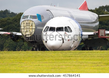 Redundant Passenger Airliners Being Dismantled - stock photo