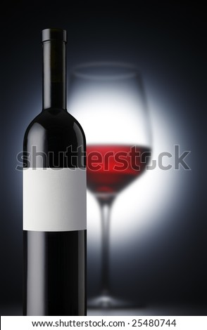 redwinebottle with wineglas - stock photo