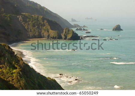 Redwood Coast shoreline an ocean rock formations