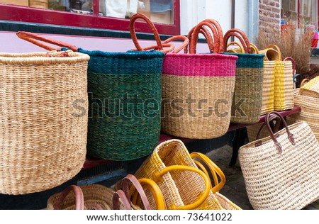 reed bags for sale on a market in deventer, Netherlands