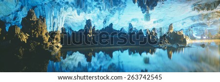 Reed Flute Cave in Guilin, Guangxi Province, People's Republic of China - stock photo