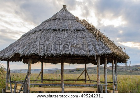Reed Lake. Sic, near Cluj-Napoca. Pavilion at the nature reserve of reed beds of Sic village, Cluj county, Romania, Europe