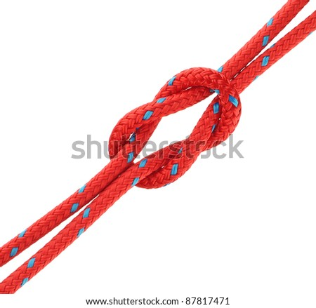 Reef Knot Tied in Red Rope Isolated on White - stock photo