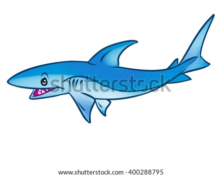 Reef shark predatory fish cartoon illustration isolated image animal character