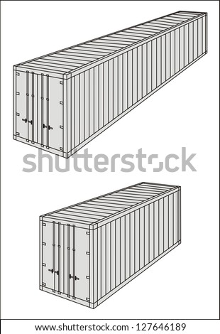 Reefer/refrigerated/frozen cargo container line drawing - international maritime trade black and white raster illustration (part 2) - stock photo