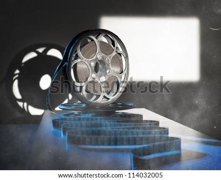Reel of film in retro style - stock photo
