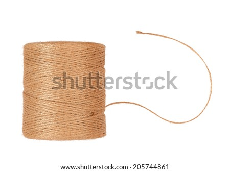 reel of rope and end of thread isolated on white background - stock photo