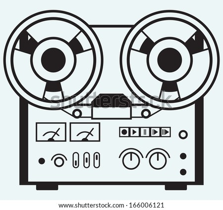 Reel tape recorder isolated on blue background. Raster version - stock photo