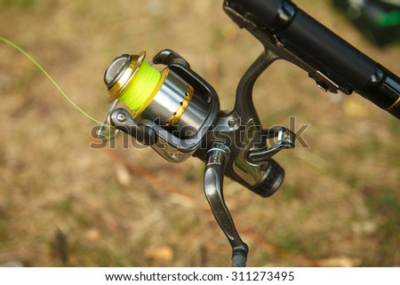 reel the bait close-up, outdoors