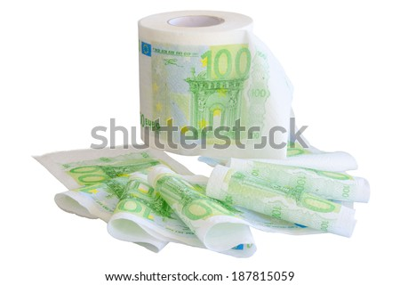 Reeled off toilet paper with 100 Euro banknotes image isolated on white - stock photo