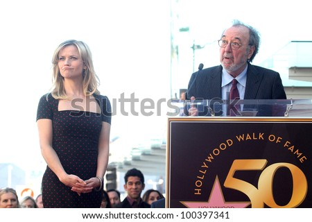 Reese Witherspoon and James L. Brooks at Reese Witherspoon's induction into the  Hollywood Walk of Fame, Hollywood, CA. 12-01-10