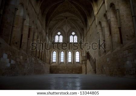 Refectory of monks in Santa Maria de Huerta Cistercian Monastery, Soria. Spain - stock photo