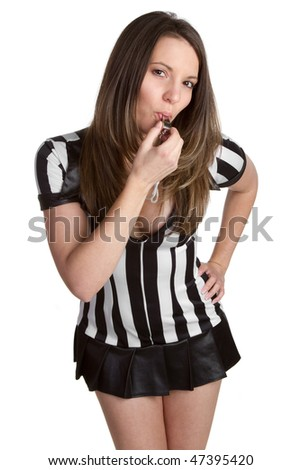 Referee Blowing Whistle - stock photo