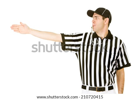 Referee: Blowing Whistle and Calling First Down On Play - stock photo