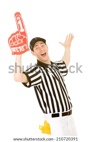 Referee: Excited Ref With Number One Foam Finger - stock photo