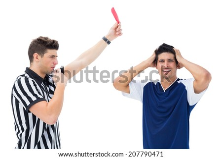 Referee sending off football player on white background - stock photo