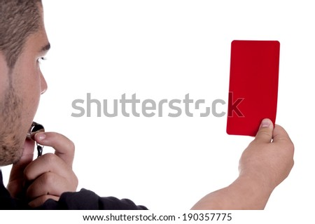 Referee showing the red card on white background - stock photo