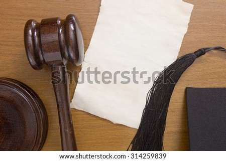 Referee wooden hammer on the table and brush referee traditional caps. - stock photo