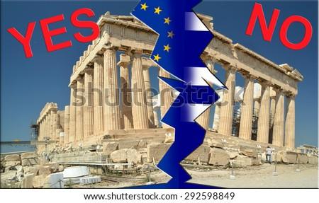 referendum yes no, grexit, Parthenon Athens Greece - stock photo