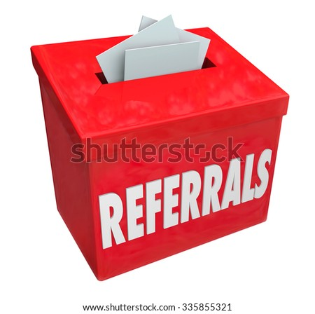 Referrals word on 3d red box for collecting word of mouth customers referred by loyal clients - stock photo