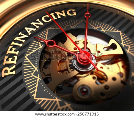 Refinancing on Black-Golden Watch Face with Watch Mechanism. Full Frame Closeup.  - stock photo