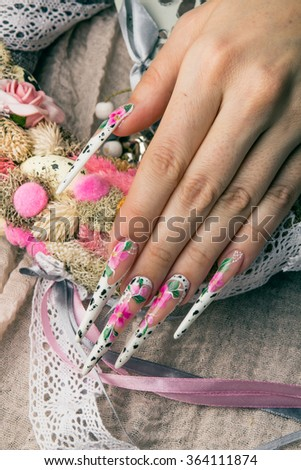 Refined Painted Long Nails Hands Flower Stock Photo (Royalty Free ...