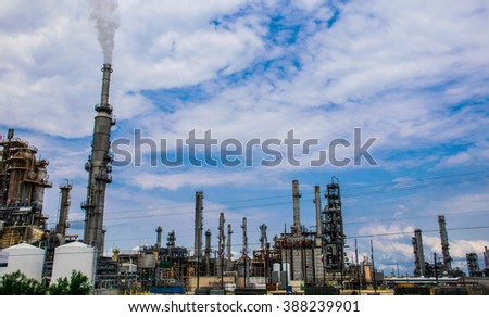Refineries in Texas Toxic Petro Chemical Fossil Fuel Plants creating Pollution Creating Oil and Gasoline it is time to stop these Companies massive station - stock photo