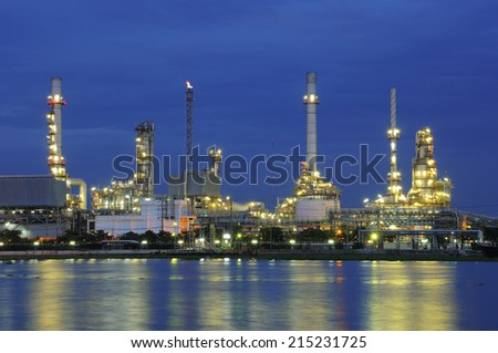 refinery at dusk