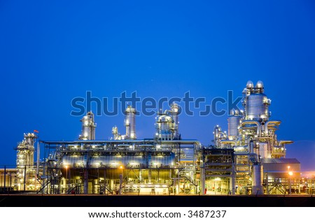 Refinery at night 5 - stock photo