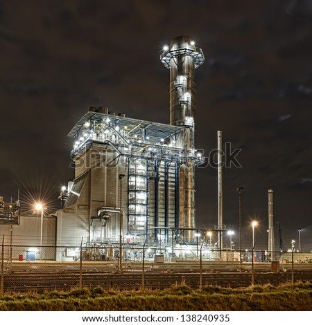 Refinery by night - stock photo