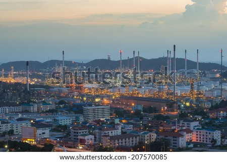 Refinery factory plant in heavy industry estate ,Chonburi ,Thailand - stock photo