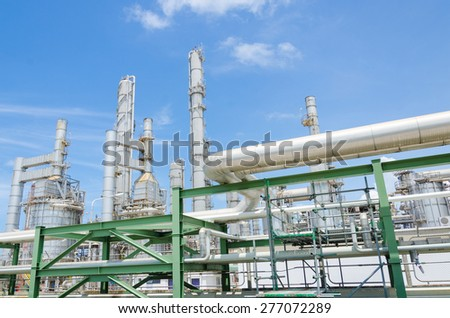 Refinery in petrochemical plant - stock photo