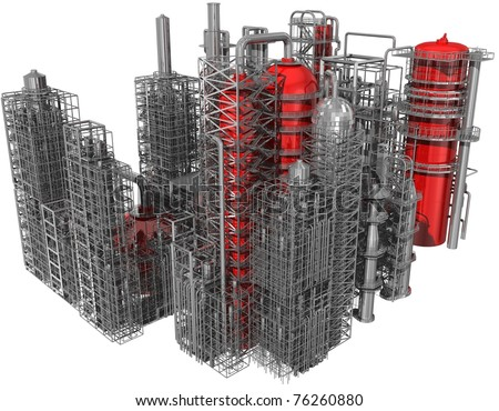 refinery isolated on white 3d render - stock photo