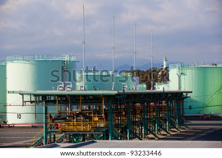 Refinery main pipeline and filling station, typical scene inside refinery.Fuel(oil) tanks in territory of a petrofactory. - stock photo