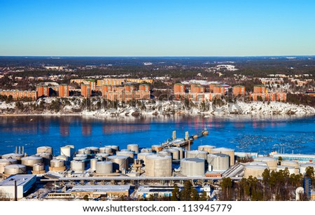 Refinery near urban settlements in Stockholm, Sweden. - stock photo