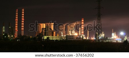 Refinery night view - stock photo
