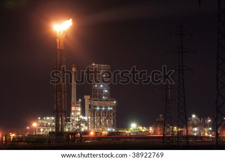 Refinery night view - stock photo