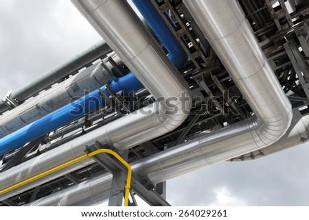 refinery pipeline - stock photo