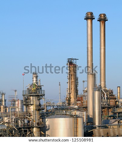 Refinery pipeline in factory - stock photo