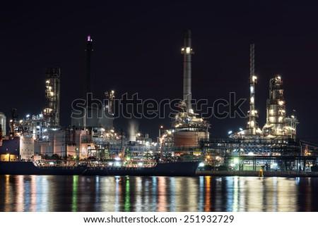 Refinery plant area at Night ,Thailand - stock photo