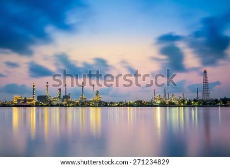 Refinery plant area at twilight - stock photo