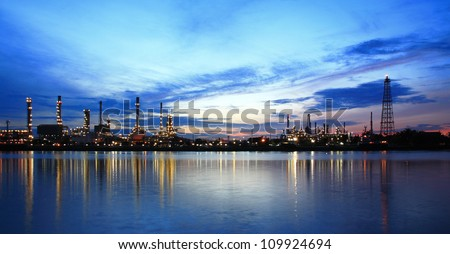 Refinery plant area at twilight Panorama