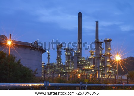Refinery plant During the morning of blue sky - stock photo